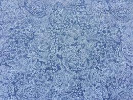 Rosenstoff blau, Edda, Breite 140 cm, Mischgewebe
