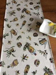 Gobelin Tischläufer mit Olivenmotiven, ca. 40x140cm