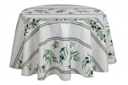 Tischdecke Olivette Natur, antitache, rund 180 cm. abwischbar