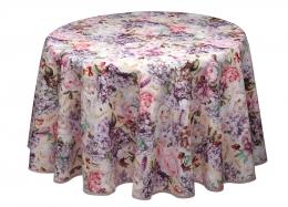 Wunderschöne runde Tischdecke, Weihnachten mit Rosen und Hortensien, ca. 160 cm, Baumwolle