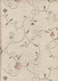Angebot: Jacquard beige mit Blumenranken, Möbelbezugstoff, Breite 140 cm