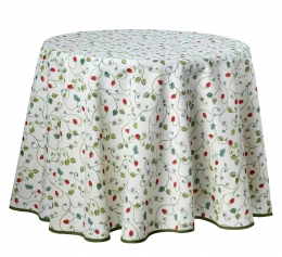 Runde Tischdecke, pflegeleicht mit Erdbeeren, 180 cm Durchmesser