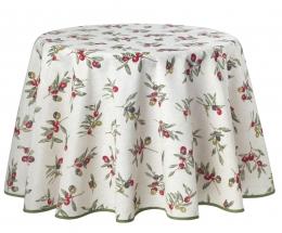 Runde Tischdecke, pflegeleicht mit Oliven, Bistrodecke, 140 cm Durchmesser