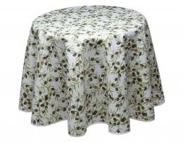 Runde Tischdecke, pflegeleicht mit Oliven, 180 cm Durchmesser