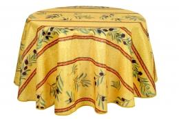 Tischdecke Olivette Jaune antitache, rund 160 cm