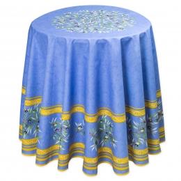 Maussane bleu, Baumwolle, Blau mit Oliven, rund 180 cm