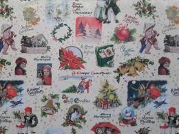 Baumwolle Weihnachtsstoff Dezember Vintage, Stoffbreite 150 cm, Baumwolle