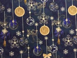 Eleganter luxuriöser Weihnachtsstoff Royalblau mit Barockmuster, Baumwolle,, Breite 140 cm