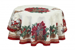 Gobelin Tischdecke Berri Weihnachten rund 140 cm