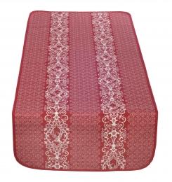 Bezaubernder Tischläufer, rot mit Hirsch und Edelweiß, Doubleface, Beidseitig, 50x140 cm