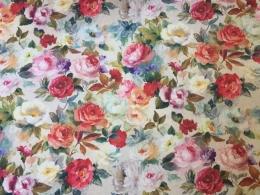 Panama Rosen Springtime, Digitalprint, Stoffbreite 160 cm