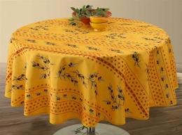 Provencetischdecke, Huile dOlive gelb, rund 160 cm, abwischbar, Outdoordecke