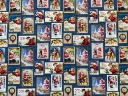 Baumwolle Weihnachtsstoff Santa Claus bleu, Digitaldruck, Breite 150cm
