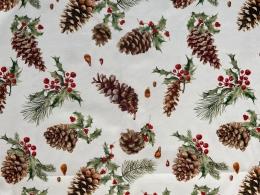 Panama Weihnachtsstoff Pinie, abwischbar, pflegeleicht, Breite 160cm
