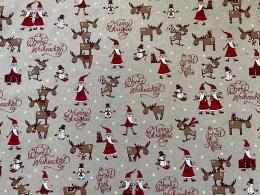 Lustige Elche 1, Witziger Weihnachtsstoff, Linnenlook, Breite 140cm, Pflegeleicht