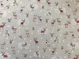 Lustige Elche 2, Witziger Weihnachtsstoff, Linnenlook, Breite 140cm, Pflegeleicht