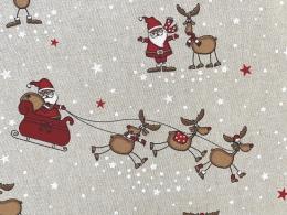 Lustige Elche 3, Witziger Weihnachtsstoff, Linnenlook, Breite 140cm, Pflegeleicht