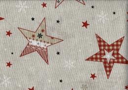 Sterne, Weihnachtsstoff, Linnenlook, Breite 140 cm