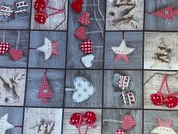 Decora, Weihnachtsstoff mit Herzen, grau-beige, Breite 140 cm