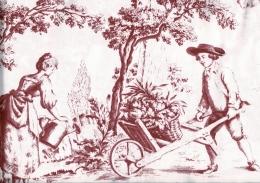 Herrlicher Toile de Jouy, rouge, Baumwolle, auch für Bettwäsche, Breite 280cm