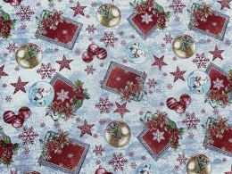 Herrlicher Gobelin Weihnachten Navidad, grau-rot mit Kugeln, Breite 140 cm
