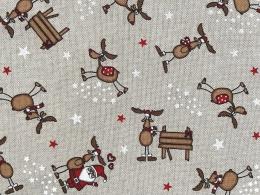 Lustige Elche 5, Witziger Weihnachtsstoff, Linnenlook, Breite 140cm, Pflegeleicht