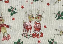 Rentier Rudolf und Olaf, Weihnachtsstoff, pflegeleicht, Breite 140cm