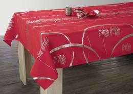 Festliche Tischdecke rot mit Silber, 240x150cm, Antitache, abwischbar, Lotuseffekt