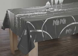 Festliche Tischdecke grau mit Silber, 240x150cm, Antitache, abwischbar, Lotuseffekt