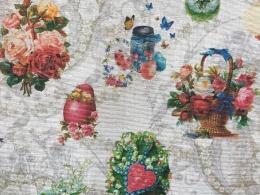 Osternester mit Rosen, Häschen, Osterneiern, Breite 140 cm, Pflegeleicht