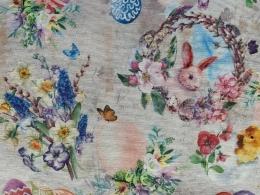 Ostereier mit Rosen, Häschen und Küken, Shabby, Breite 140 cm, Pflegeleicht