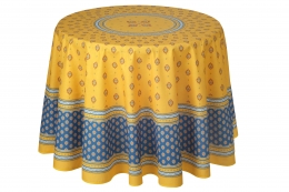 Provencetischdecke Bormiou gelb-blau Baumwolle, ca. 180cm