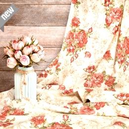Rosenstoff AITANA, lachsfarbene Rosen, Breite 140 cm, pflegeleicht