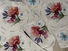 12 Motive, Gobelinreste mit Tulpen zum Basteln, Dekorieren, Applizieren