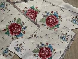 12 Motive, Gobelinreste mit Rosen zum Basteln, Dekorieren, Applizieren