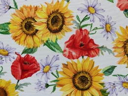 Panama Sonnenblumen und Klatschmohn, Breite 160 cm