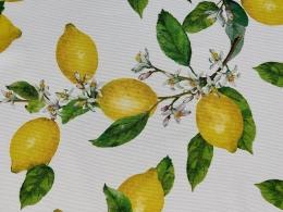 Panama Lemon, Zitronen und Blüten, Breite 160 cm, Pflegeleicht