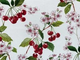 Panama Kirschblüte und Kirschen, Breite 160 cm, Pflegeleicht