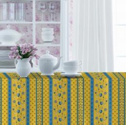 Provencetischdecke Avignon, 250x150 cm, gelb-blau Bordüre, Baumwolle