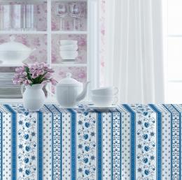Provencetischdecke Avignon, 250x150 cm, blau-weiß Bordüre, Baumwolle