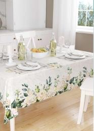 Weiße Rosen und Hortensien, Spiegelbordüre Tischdeckenstoff, 140cm Breite, pflegeleicht