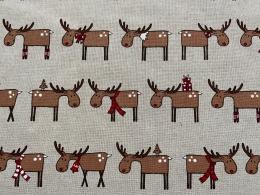 Lustige Elche 8, Witziger Weihnachtsstoff, Linnenlook, Breite 140cm, Pflegeleicht