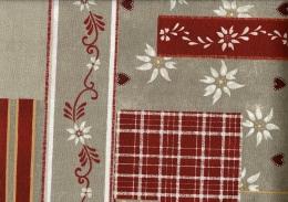 Landhaus mit Herzen, Edelweiß, Rot-Beige, Baumwolle beschichtet, Breite 160cm