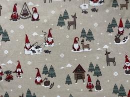 Lustige Elche und Wichtel 9, Witziger Weihnachtsstoff, Linnenlook, Breite 140cm, Pflegeleicht