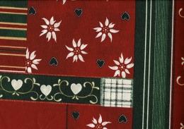 Landhaus Weihnachtsstoff mit Herzen, Edelweiß, Rot, Baumwolle beschichtet, Breite 160cm