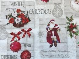 Panama Merry Christmas, romantischer Weihnachtsstoff, Breite 160 cm