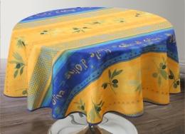 Provencetischdecke blau-gelb Oliven, rund 160 cm