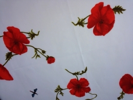 Tischdecke 130x170 mit rotem Klatschmohn, pflegeleicht, abwischbar