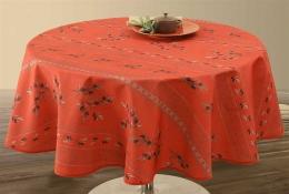 Tischdecke Olivettes rouge, antitache, abwischbar, 180 cm Durchmesser