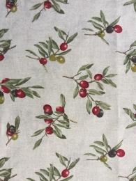 Dekostoff Oliven, Mischgewebe, Leinencharakter, Breite 280 cm.